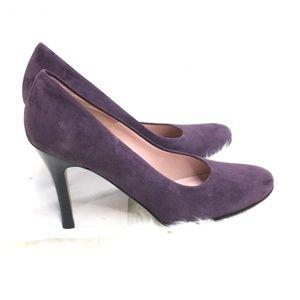 Anne Klein Purple Leather Suede Heels Size 8.5